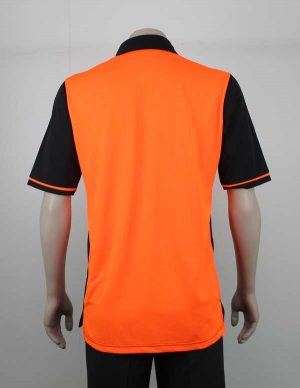 Hi Vis Panel Polo Orange Black Back By Loop Workwear NZ