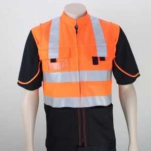 Tradesman Day Night Hi Vis Vest Orange Black 1 By Loop Workwear NZ