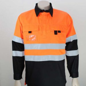 Tradesman Hi Vis Day Night Pullover Orange Black By Loop Workwear NZ