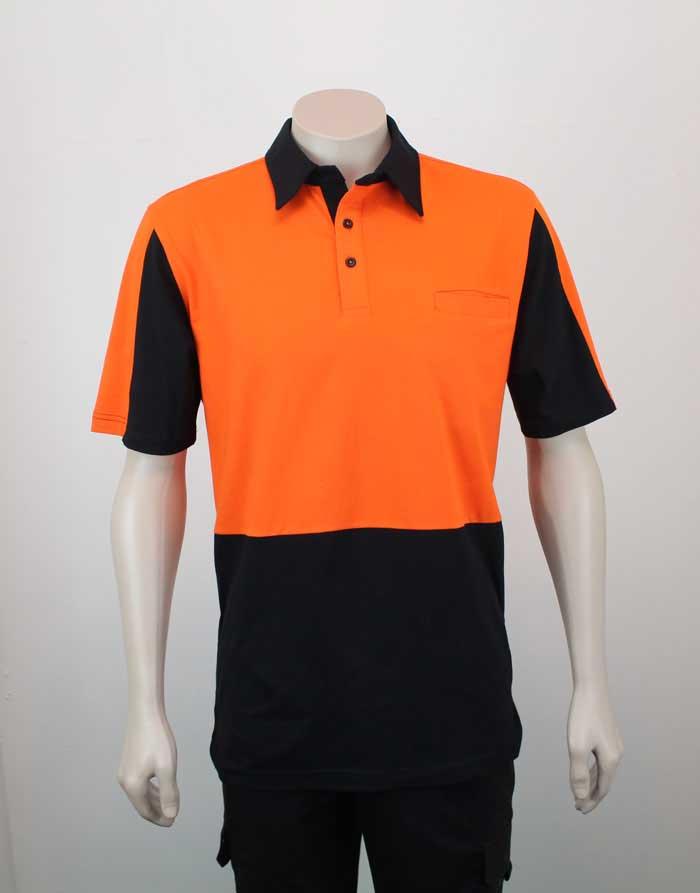 100% Cotton Hi Vis Panel Polo SS Orange Black Front By Loop Workwear NZ