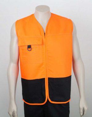 Tencel Drill Hi Vis Vest Orange Black By Loop Workwear NZ