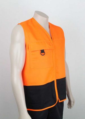 Tencel Drill Hi Vis Vest Orange Black Side By Loop Workwear NZ