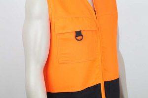 Tencel Drill Hi Vis Vest Orange Black Detail By Loop Workwear NZ